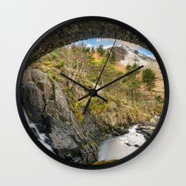 Pont Pen y Benglog Bridge Snowdonia Wall Clock
