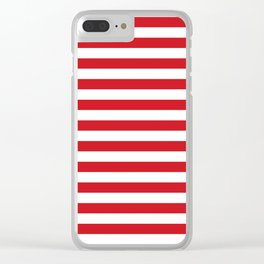 Narrow Horizontal Stripes - White and Fire Engine Red Clear iPhone Case