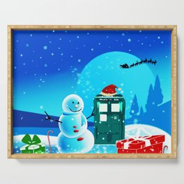 Tardis With Snow Ball Gift Christmas Serving Tray