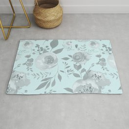 light blue and gray floral watercolor print Rug