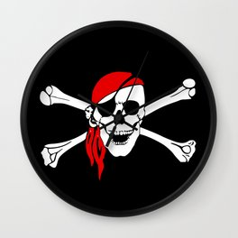 Old Pirate Flag Wall Clock