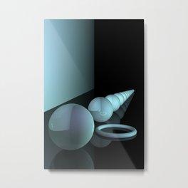 turquoise geometry Metal Print