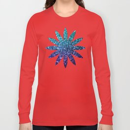 Beautiful Aqua blue Ombre glitter sparkles Long Sleeve T-shirt