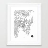 sydney Framed Art Prints featuring SYDNEY by Maps Factory