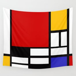 Piet Mondrian - Composition with Red, Yellow, and Blue 1942 Artwork Wall Tapestry
