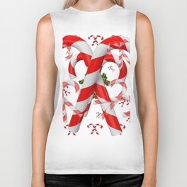 FESTIVE ART RED-WHITE CHRISTMAS CANDY CANES HOLLY BERRIES Biker Tank