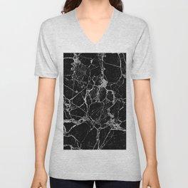 Black Marble with White Veining Unisex V-Neck