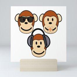 Illustration of Cartoon Three Monkeys - See, Hear, Speak No Evil Mini Art Print