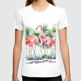 Flamingo Flamingos and Papyrus, flamingo lover pink green art T-shirt