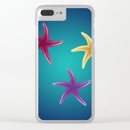 Colorful Starfishes Clear iPhone Case