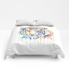Tiger - Rainbow Tiger - Colorful Watercolor Painting Comforters