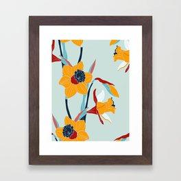 Mid Century spring flowers Framed Art Print