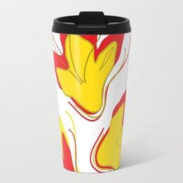 Abstract Vector Digital Art Golden Flowers Travel Mug