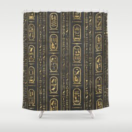 Egyptian hieroglyphs Gold on Leather Shower Curtain