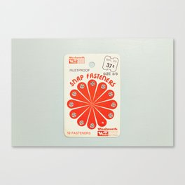 The Way Sewing Used To Be: Vintage Snap Fasteners Orange Canvas Print