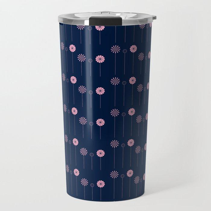 Pink Pinwheel Flowers Travel Mug