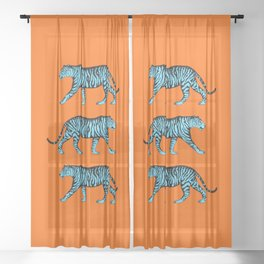 Tigers (Orange and Blue) Sheer Curtain