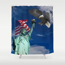 Bald Eagle a Lady Liberty Shower Curtain