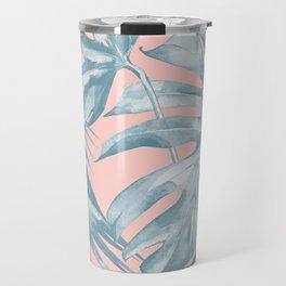 Tropical Leaves Ocean Blue on Coral Pink Travel Mug