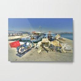 Bike & Boats at Nafplion Harbour Metal Print