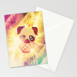 Kawaii pug flying in a cup lightings and starry texture Stationery Cards