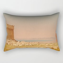 Ruins of the Parthenon Oil Painting by Sanford Robinson Gifford Rectangular Pillow