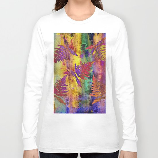 Colorful Fern Leaves QW Long Sleeve T-shirt