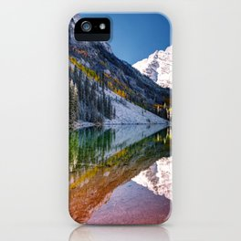 OLena Art Maroon Bells And Maroon Lake Near Aspen Colordo iPhone Case