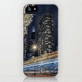 Chicago Skyline as Tron Bikes Zip Past iPhone Case