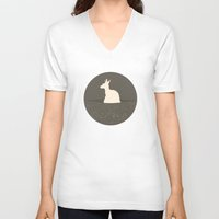 kangaroo V-neck T-shirts featuring Kangaroo by Marg