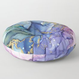 Moody Mermaid Bubbles Abstract Ink Floor Pillow