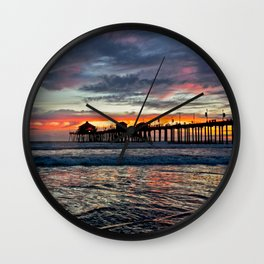 Huntington Beach Sunset  1/26/14 Wall Clock