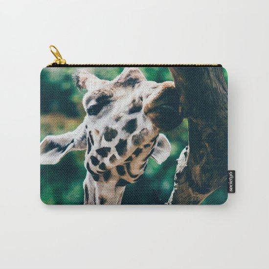 Green Portrait Of A Giraffe Carry-All Pouch