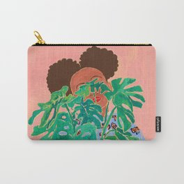 Adventure Stories for Introverts: Lethabo and the Delicious Monster, Woman with Indoor Plant Painting on Pink Carry-All Pouch