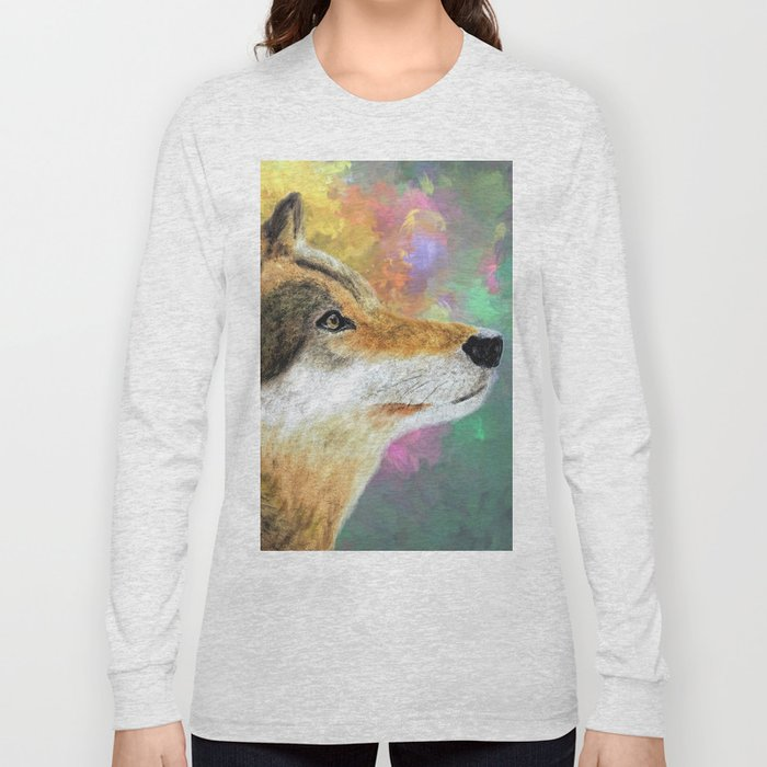 Abstract Wolf Painting Long Sleeve T-shirt