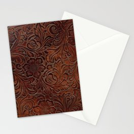 Burnished Rich Brown Tooled Leather Stationery Cards