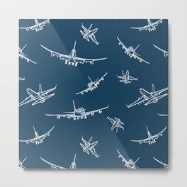 Airplanes on Navy Metal Print
