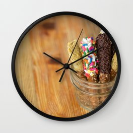 chocolate pretzels Wall Clock