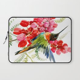 Collared Inca Hummingbird and Coral Pink Flowers Laptop Sleeve