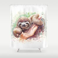 sloth Shower Curtains featuring Sloth by Olechka