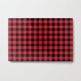 Buffalo Plaid Bright Red and Black Pattern Minimal Graphic Design Metal Print