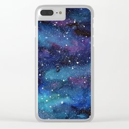 Galaxy Space Painting Stars Cosmic Universe Nebula Art Clear iPhone Case