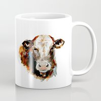 craftberrybush Mugs featuring  Cow watercolor by craftberrybush
