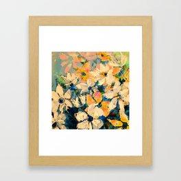 White Blue Orange Knife Painted Digital Floral Framed Art Print