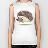 hedgehog Biker Tanks featuring Hedgehog by Toru Sanogawa
