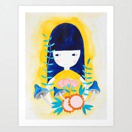blue hair girl botanical watercolor illustration Art Print