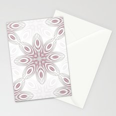 Feathers, Geometric Pattern in Mauve and Grey Stationery Cards