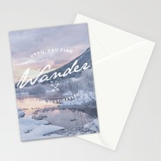 Wanderlust snow landscape winter sunset typography Stationery Cards