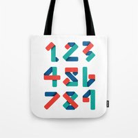 number Tote Bags featuring Number by Steven Toang