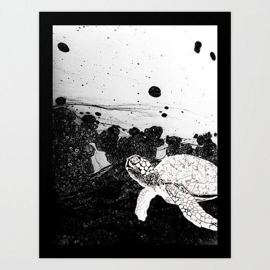 Sea Foam Sea Turtle (B/W) Art Print